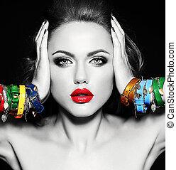 bella donna, fotografie a colori, trucco, quotidiano, sano, labbra, nero, pulito, pelle, fresco, bianco, modello, rosso