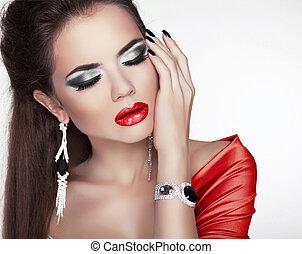 bella donna, gioielleria, trucco, accessori, labbra, moda, ritratto, sexy, rosso