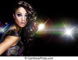 bella donna, giovane, ballo