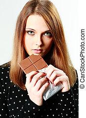 bella donna, giovane, isolato, cioccolato, presa a terra, bianco