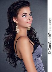 bella donna, hairstyle., bellezza, lungo, accessorio, earrings., hair., nero, modello, portrait., ragazza