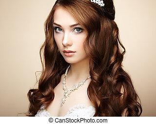 bella donna, hairstyle., foto, elegante, dress., ritratto sposa, moda, sensuale