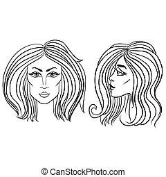 bella donna, illustration., faccia, vettore, nero, hair., fronte, bianco, vista laterale