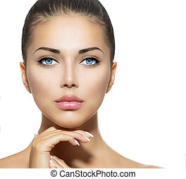 bella donna, lei, bellezza, faccia, toccante, portrait., terme