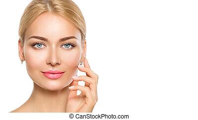 bella donna, lei, bellezza, face., faccia, toccante, terme, modello, ragazza