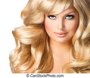 bella donna, riccio, capelli lunghi, portrait., biondo, biondo, ragazza