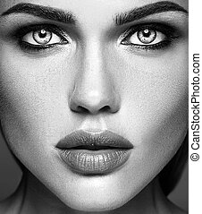bella donna, sano, foto, trucco, quotidiano, faccia, fascino, nero, pulito, pelle, fresco, bianco, signora, modello, sensuale