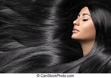 bella donna, sano, giovane, capelli lunghi, baluginante