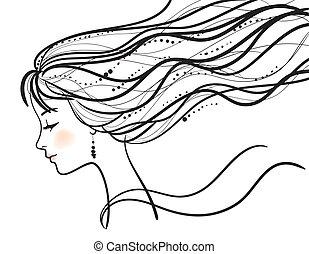 bella donna, silhouette, faccia