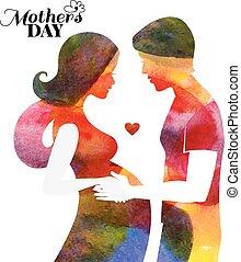 bella donna, silhouette, lei, incinta, husband., acquarello