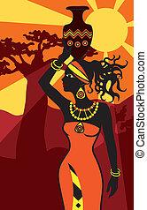 bella donna, tramonto, africano
