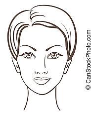 bella donna, vettore, illustrazione, faccia