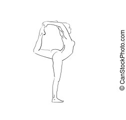 bella donna, yoga, schizzo, nero, bianco