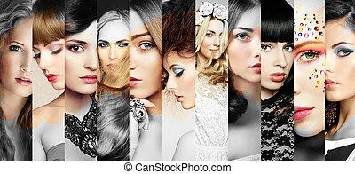 belle donne, facce, collage