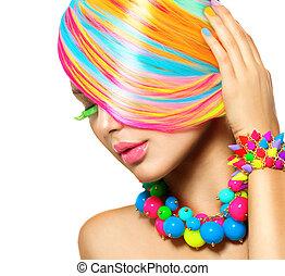 bellezza, colorito, trucco, accessori, capelli, ritratto, ragazza
