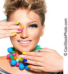 bellezza, colorito, trucco, accessori, smalto per unghie, ragazza