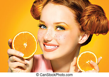 bellezza, freckles, succoso, oranges., ragazza, modello