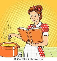 bellezza, moglie, cottura, minestra, vettore, retro