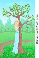bello, 10, donna, giovane, eps, accanto, albero.