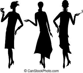 bello, 1920s, silhouette, ragazza, style.