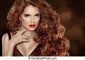 bello, accessories., ondulato, moda, hairstyle., riccio, bellezza, truccare, lungo, lussuoso, capelli, donna, portrait., capelli, lucido, hair., ragazza, modello, rosso, extensions.