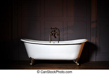 bello, acciaio, stile, vecchio, classico, inossidabile, rubinetto, spruzzatore, foggiato, piede, artiglio, bianco, vasca bagno