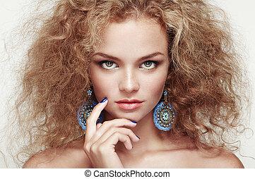 bello, acconciatura, donna, giovane, elegante, moda, ritratto