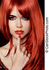 bello, acconciatura, woman., bellezza, sano, lips., hair., lungo, girl., nail., polacco, sexy, modello, rosso