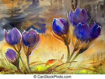 bello, acquarello, flowers., pittura, primavera