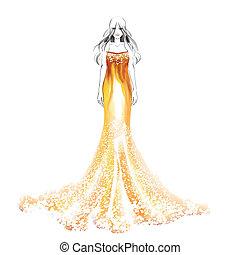 bello, acquarello, ragazza, moda, illustrazione