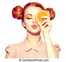 bello, adolescente, fetta, freckles, succoso, presa a terra, arancia, ragazza, gioioso