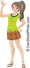 bello, adolescente, illustrazione, ondeggiare, sorridere., ragazza, cartone animato, coda cavallo