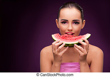 bello, anguria, mangiare, donna, saporito