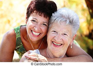 bello, anziano, figlia, sorridente, madre