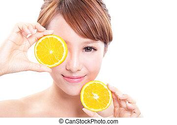 bello, arancia, donna, succoso, faccia