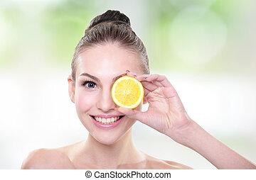 bello, arancia, faccia donna