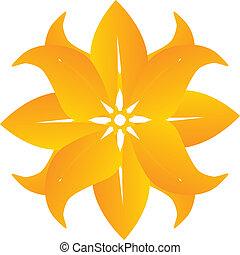 bello, astratto, fiore, giallo