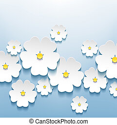 bello, astratto, sakura, fondo, floreale, fiori, 3d