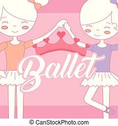 bello, ballerine, balletto, corona, tenere mani