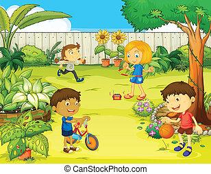 bello, bambini, gioco, natura