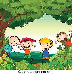 bello, bambini, natura