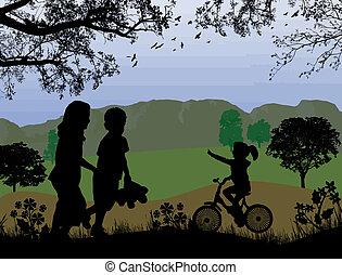bello, bambini, paesaggio, gioco