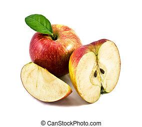 bello, bianco, mela, fondo