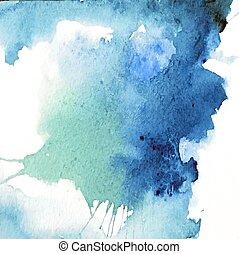 bello, blu, acquarello, fondo