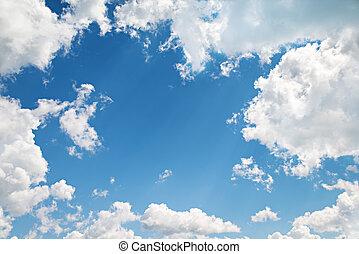 bello, blu, nubi, fondo., cielo