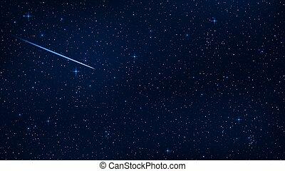 bello, blu, project., star., realistico, falling., stellato, carta da parati, cielo, illustrazione, scuro, meteorite, fondo, vettore, stelle, sky., glow., riprese, tuo, lucente