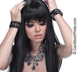 bello, brunetta, gioielleria, sano, foto, hair., lungo, girl., moda, beauty.