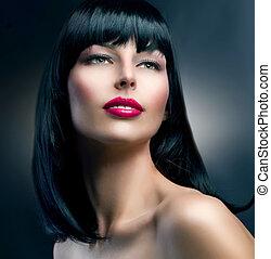 bello, brunetta, hairstyle., moda, portrait., modello, ragazza