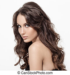 bello, brunetta, riccio, lungo, hair., woman.