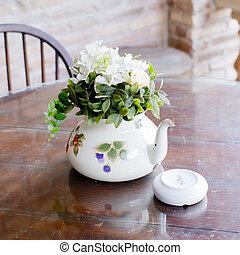bello, caffè, -, decorazione, vaso, tavola, casa, fiori